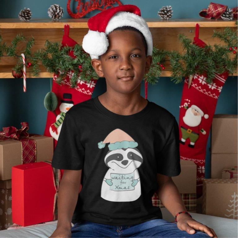 Short sleeve black Christmas t shirts Waiting for xmas