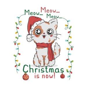 Short sleeve kids Christmas t shirts Happy cat