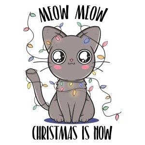 Short sleeve kids Christmas t shirts Meow Christmas now