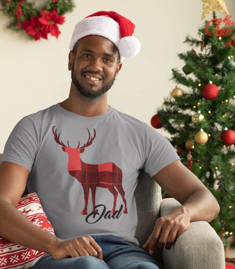 Grey short sleeve Christmas t shirts for men Dad deer