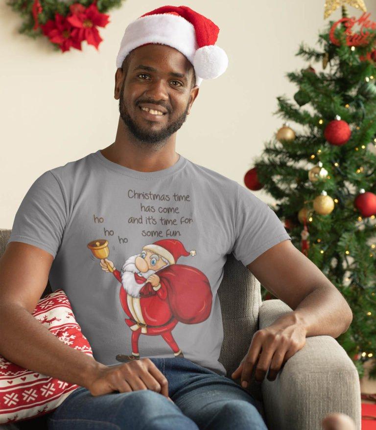 grey short sleeve men graphic t shirts Santa bell