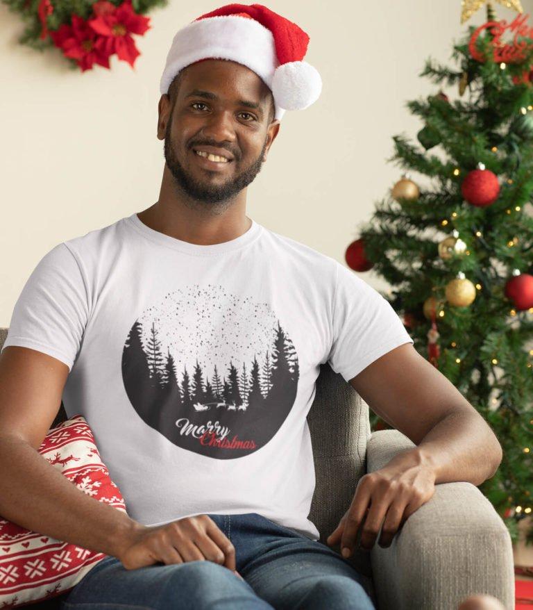 White short sleeve Christmas t shirt for men Christmas in forest