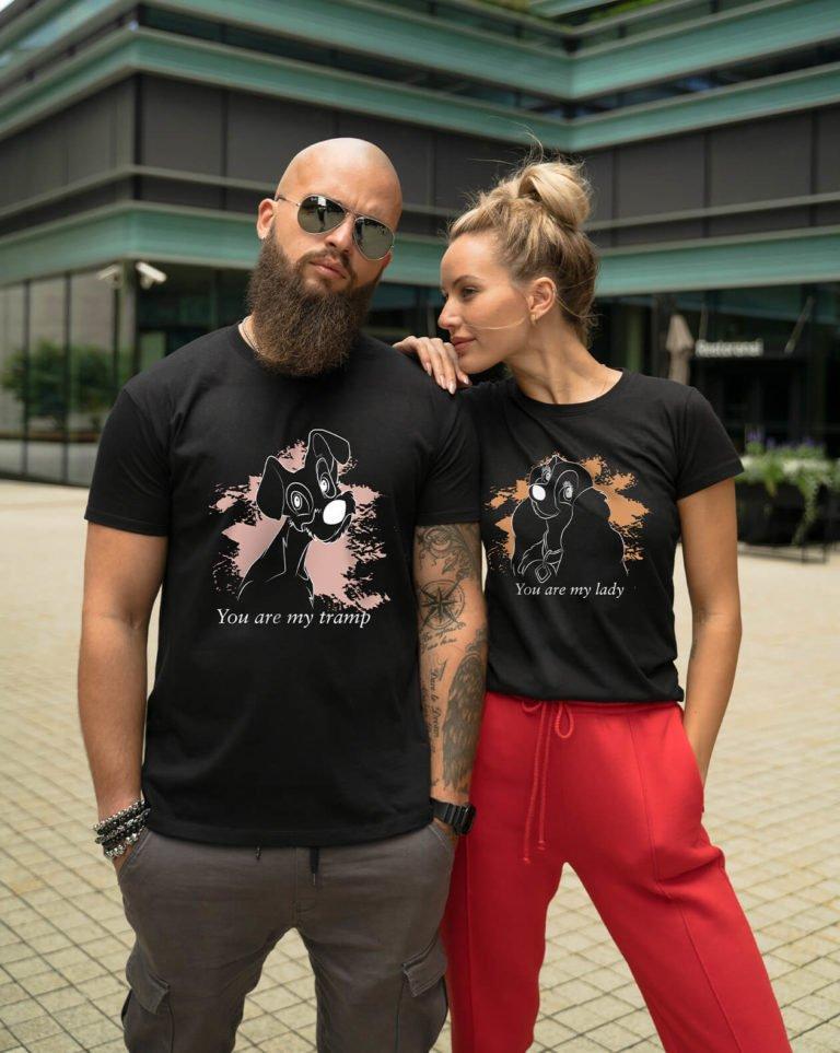 Black short sleeve couple graphic t shirts Dog beauty