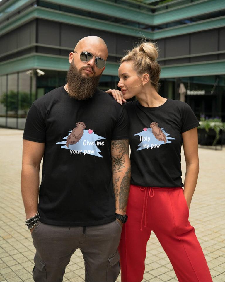 Black short sleeve couple graphic t shirts Otter