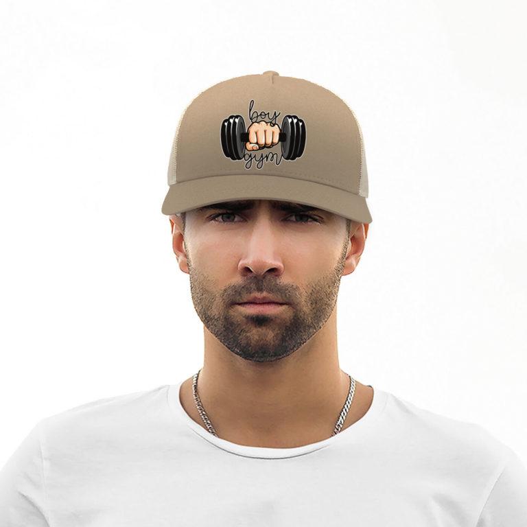 Khaki unisex rapper graphic cap Gym boy
