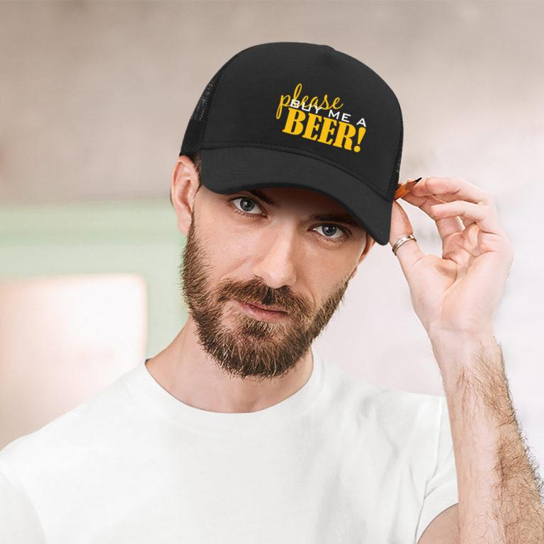 Black unisex jersey graphic cap Buy a beer