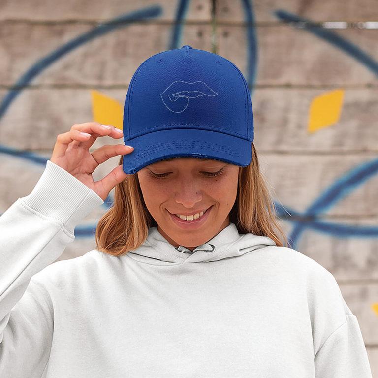 Royal blue women graphic cap Lips