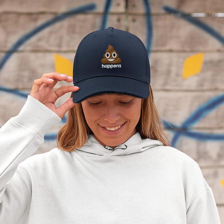 Navy blue women graphic cap Happens
