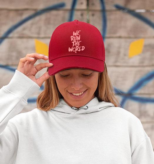 red women graphic cap Run the world