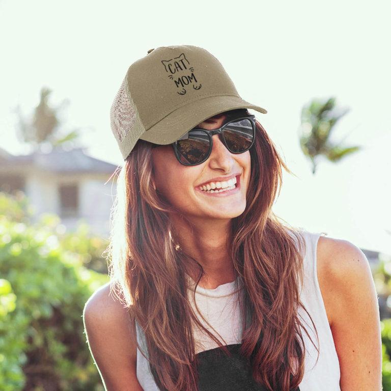 Khaki women graphic cap Cat mom