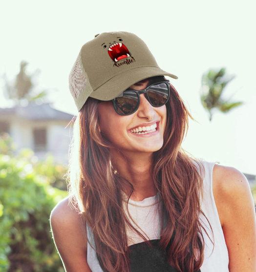 Khaki women graphic cap Feed me