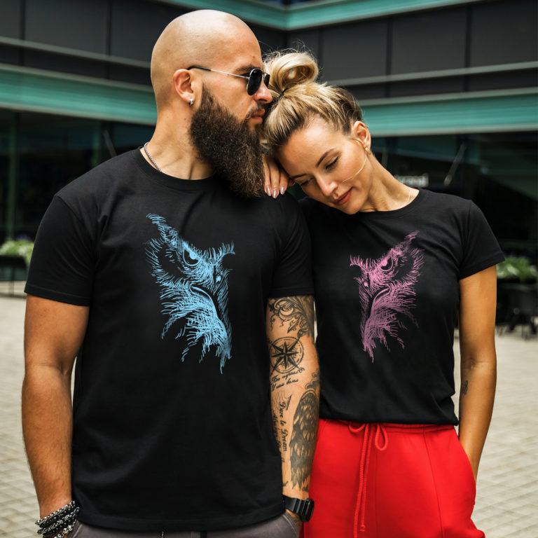 Black matching couple tees Eagle