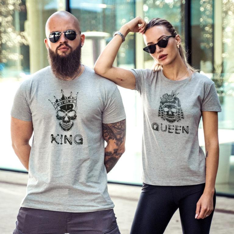 grey matching couple tees Royal skulls