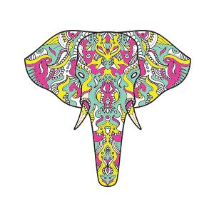White reusable graphic face mask Elephant