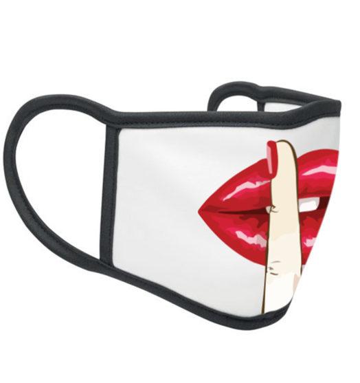 White reusable graphic face mask Silence