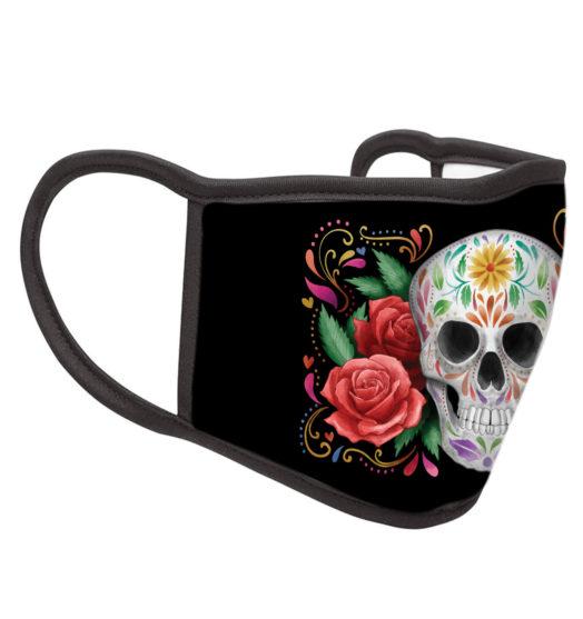 Black reusable graphic face mask Skull