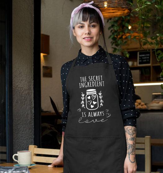 Black long with pockets graphic apron Secret