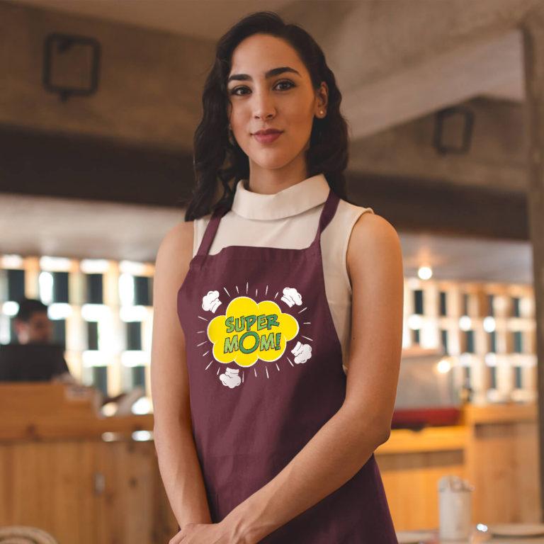 Bordo long with pockets graphic apron Super mom