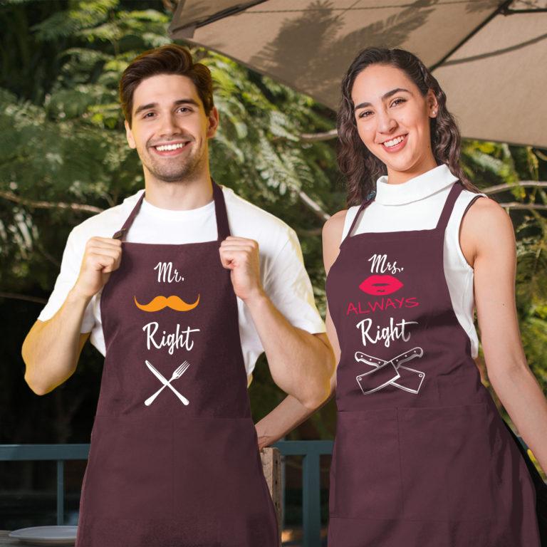Bordo graphic aprons for couple