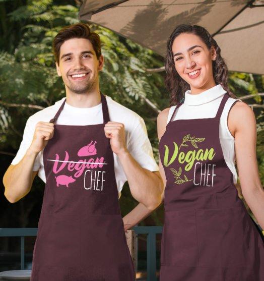 Bordo graphic aprons for couple Vegans